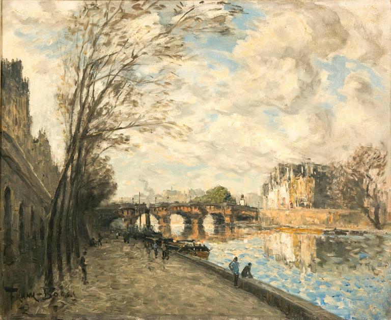 Frank Boggs, Oil on Canvas, Les Quais de la Seine à Paris In Good Condition For Sale In Saint-Ouen, FR