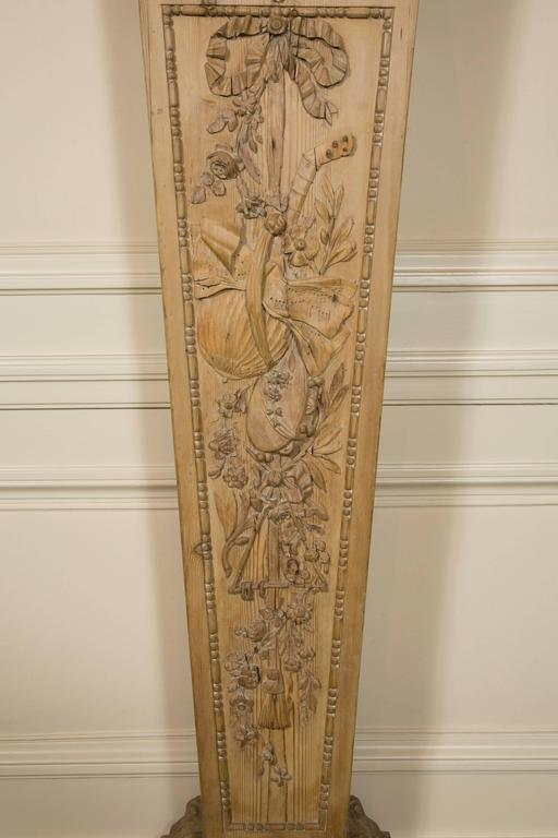 "Wood Pair of Louis XVI Style ""Gaine"" Pedestal in Carved Pine  For Sale"