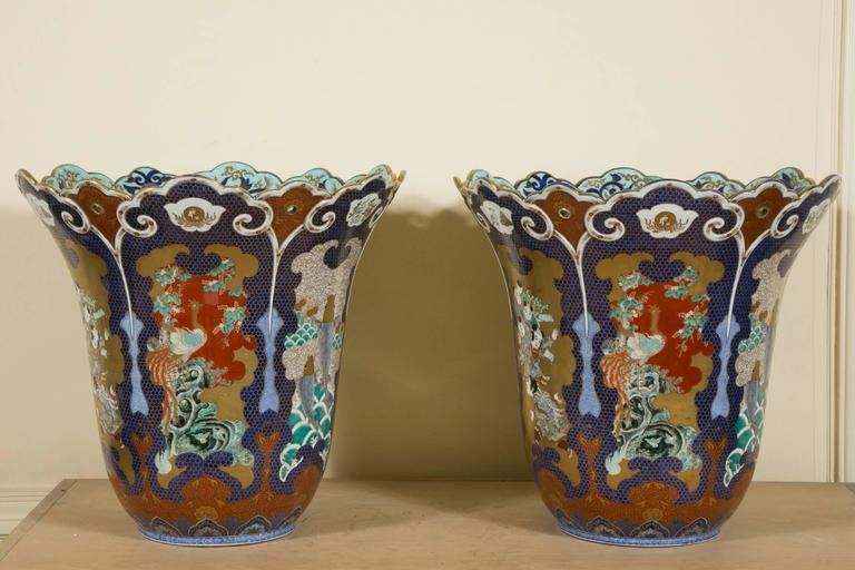 Pair of 19th Century Extra Large Japanese Palatial Fukukawa Vases, Meiji Period For Sale 4