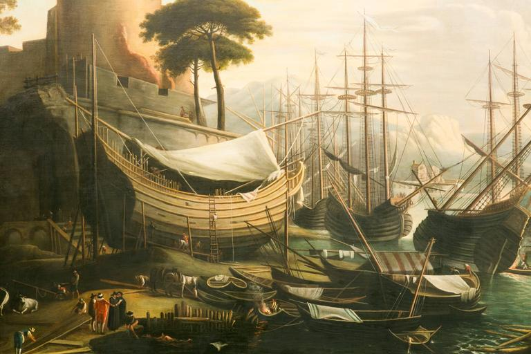 French Very Large 19th Century Painting