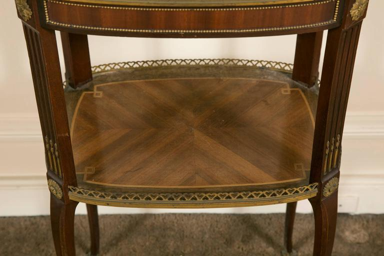 Louis XV 19th Century LXV Style Mahogany Satinwood, Gilt Bronze and Marble Top Side Table For Sale