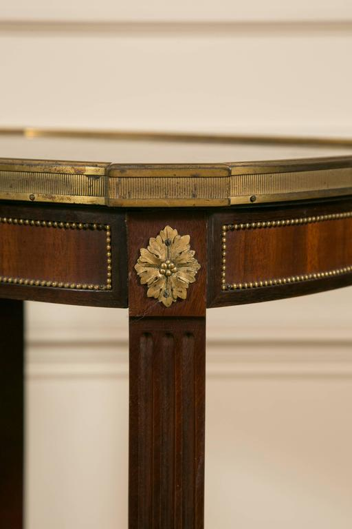 French 19th Century LXV Style Mahogany Satinwood, Gilt Bronze and Marble Top Side Table For Sale