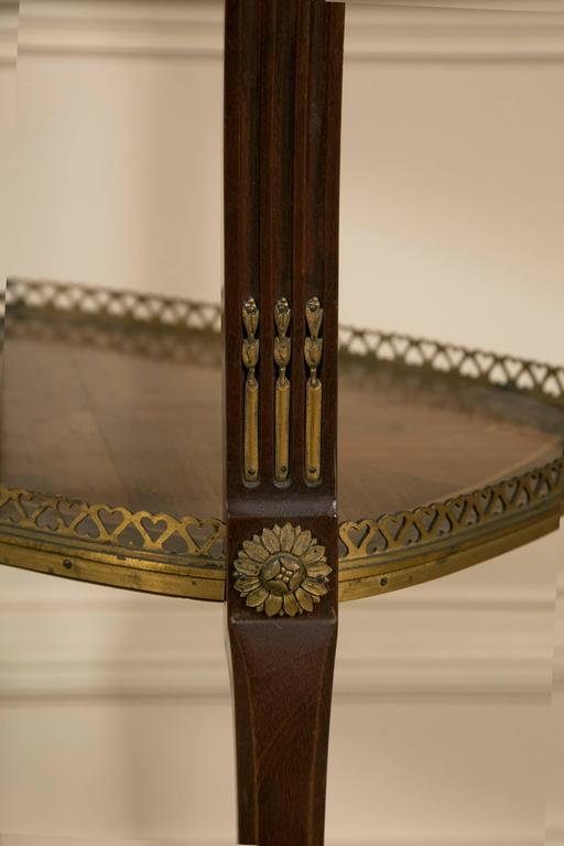 19th Century LXV Style Mahogany Satinwood, Gilt Bronze and Marble Top Side Table In Good Condition For Sale In Saint-Ouen, FR