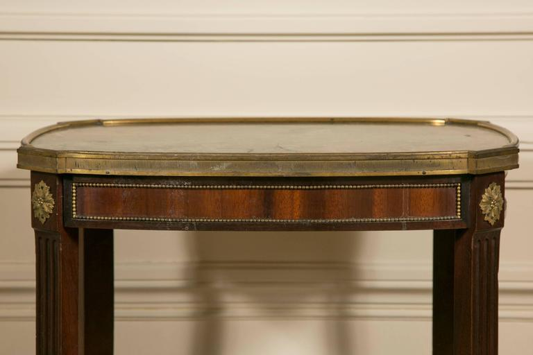 19th Century LXV Style Mahogany Satinwood, Gilt Bronze and Marble Top Side Table For Sale 1