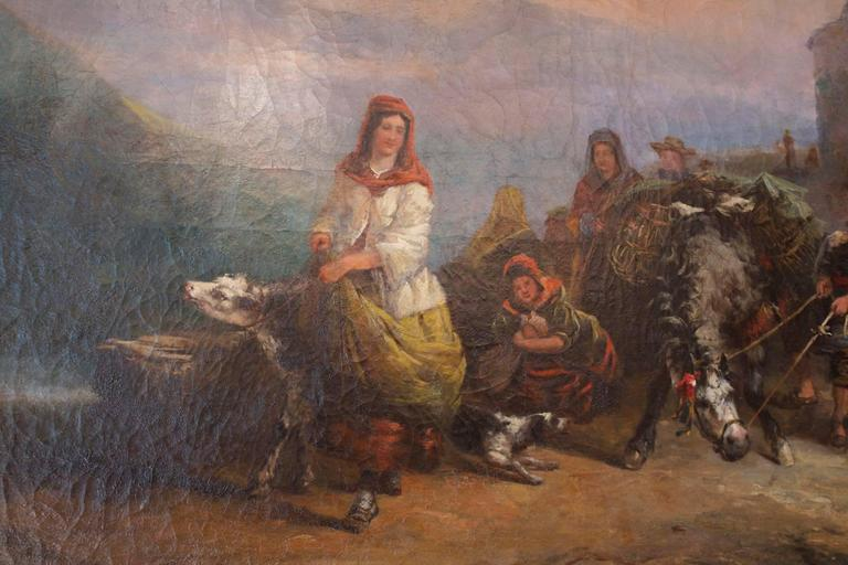 Very large size 19th century oil painting on canvas with it's frame