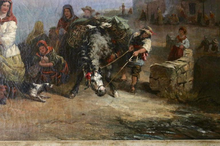 English Very Large 19th Century Oil on Canvas