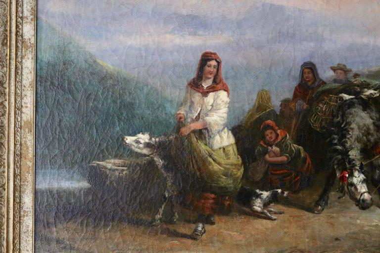 Hand-Painted Very Large 19th Century Oil on Canvas