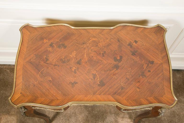 Belle Époque French Kingwood Marquetry and Ormolu Mounted LXV Style Table Signed Raulin For Sale