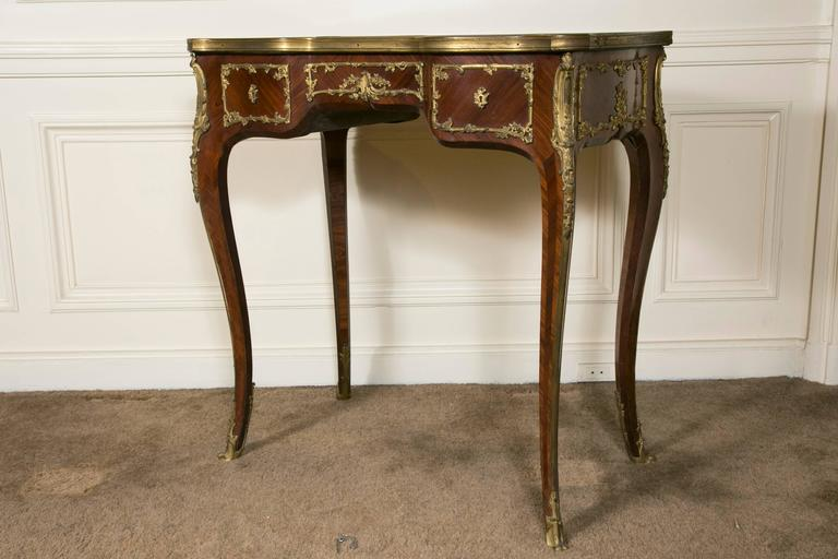 Gilt French Kingwood Marquetry and Ormolu Mounted LXV Style Table Signed Raulin For Sale