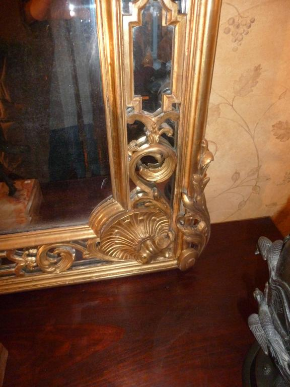 Belle Époque Fine and Large French 19th Century Giltwood Carved Mirror For Sale