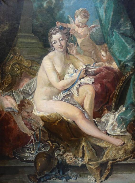 This incredible painting dates to the first half of the 19th century. It is a masterful recreation after the original famous work by Francois Boucher, French (1703-1770), currently on exhibit at the Metropolitan Museum of Art in New York.