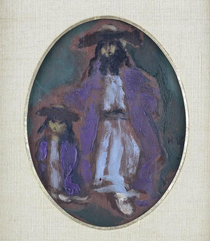 With thoughtful flowing strokes Mane-Katz (1894-1962) composes an expressionistic oil on panel portrait of an orthodox Jewish man and his son.   Signed middle right M.K for Mané-Katz, circa 1945. Mounted in original giltwood frame and matted