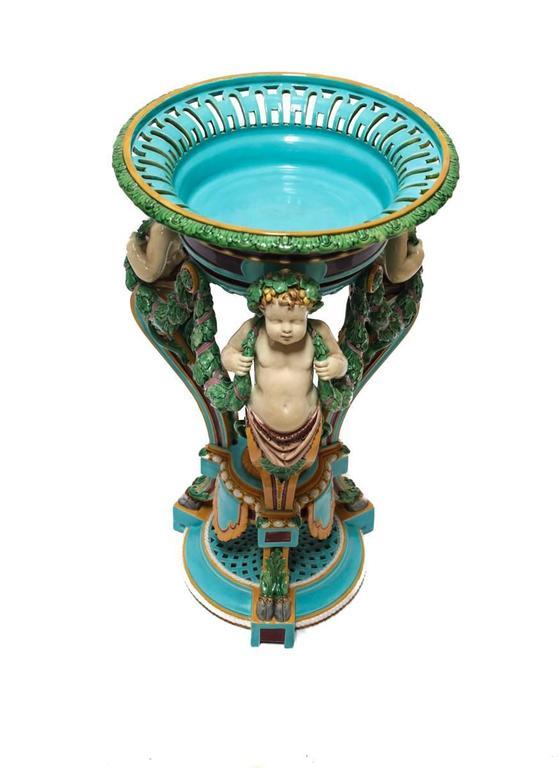 English 19th Century Minton Majolica Figural Pedestal Planter For Sale
