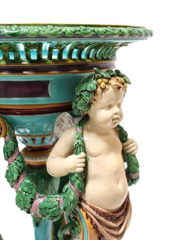 19th Century Minton Majolica Figural Pedestal Planter In Excellent Condition For Sale In Pasadena, CA