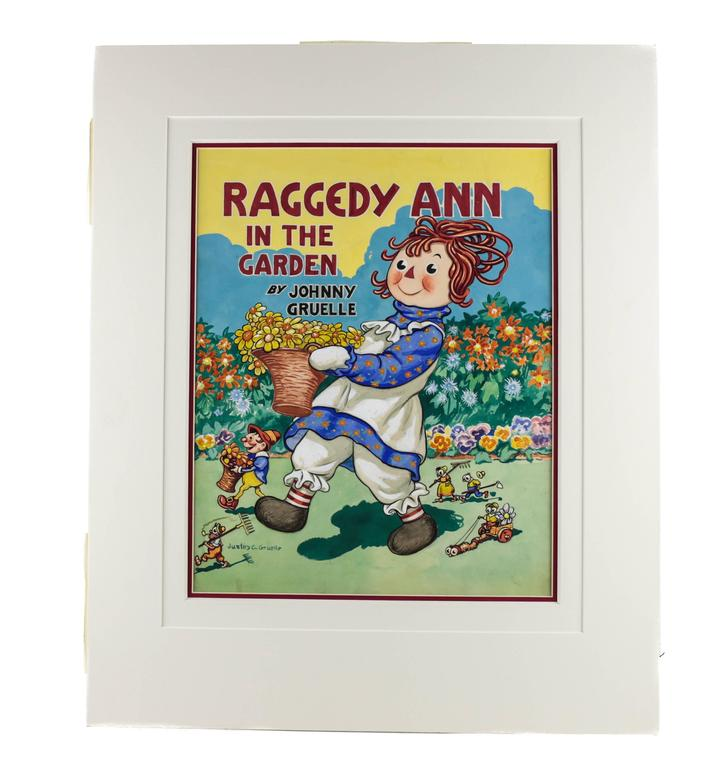 A colorful and vivid watercolor, pen and pencil by American artist Justin C. Gruelle (1889-1978) depicting a cheerful Raggedy Ann walking through a garden carrying a basket of yellow daisies. This illustration is the original front cover art for