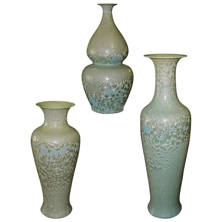 Set of Three Celadon Porcelain Floor Vases