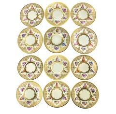 12 Dresden Hand-Painted Dinner Plates by Abrosius Lamm