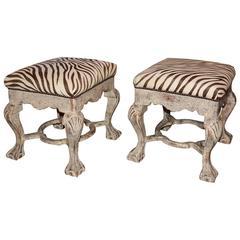 Pair of 1960s Printed Italian Zebra Striped Foot Stools