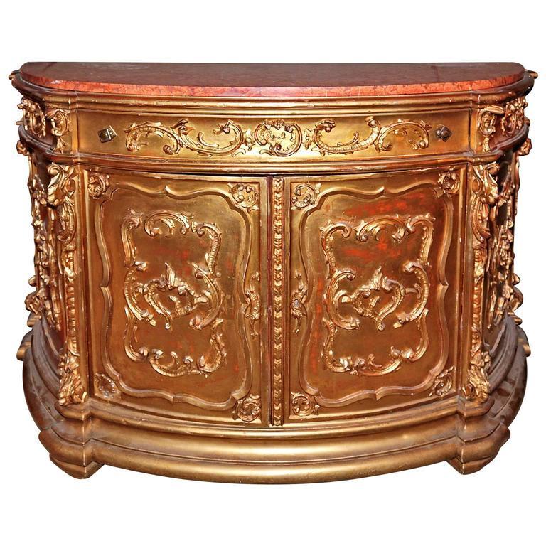 19th Century Italian Gilded Marble Top Buffet