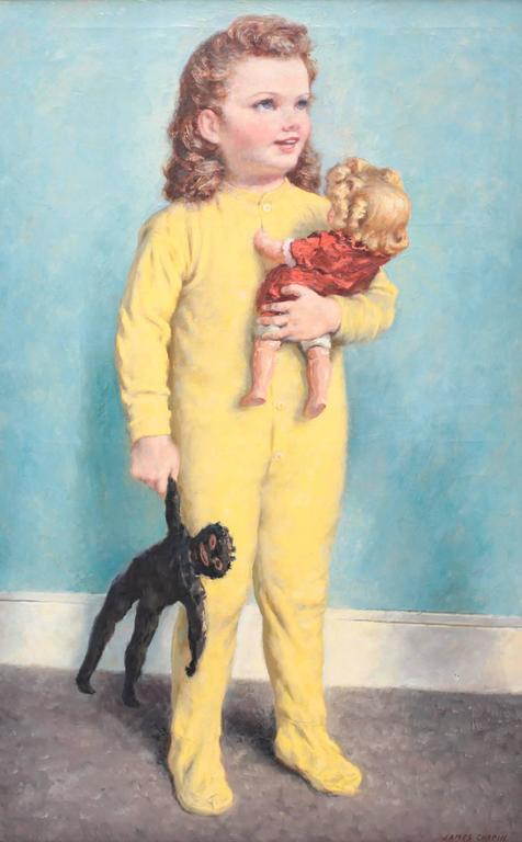 Darling oil on canvas portrait painting of a beautiful young child holding two dolls by American artist James Ormsee Chapin (1887-1975). Snug in her yellow pyjamas, she tightly cradles one doll and clutches onto the other as she smiling looks