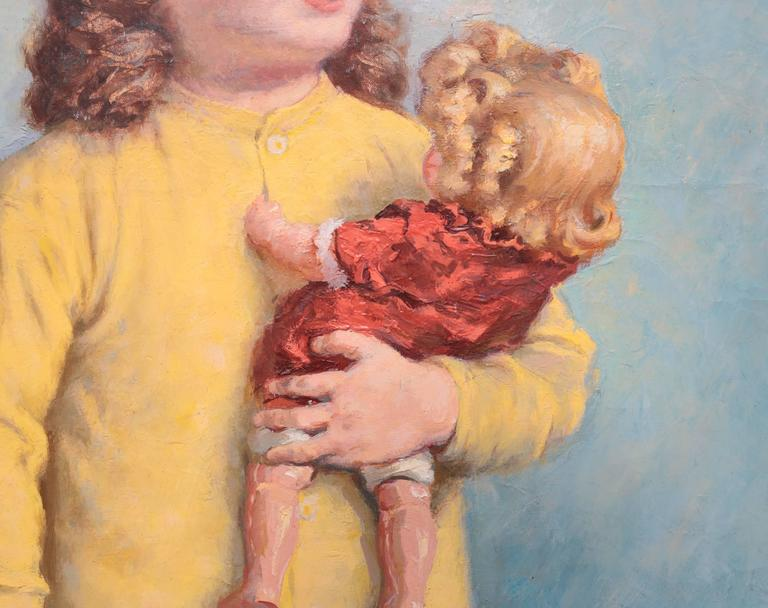 American Oil Painting of Young Girl with Two Dolls by James Chapin For Sale
