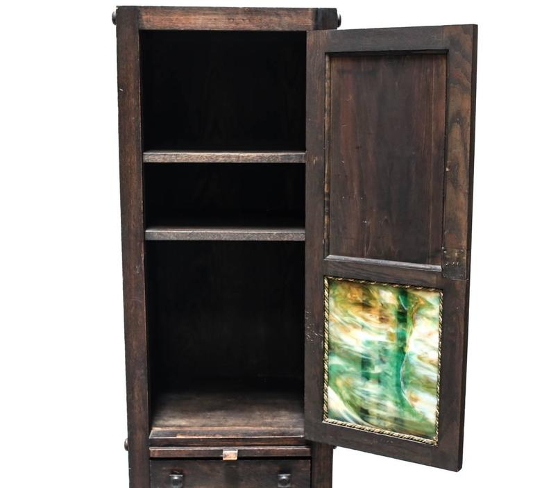Arts and Crafts Charming American Arts & Crafts Narrow Cabinet with Slag Glass Panels For Sale