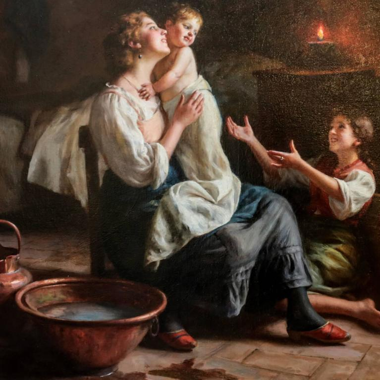 A delightful oil on canvas painting realistically depicting a joyful mother embracing her baby daughter as she dries her off after her bath. The painting features sweeping light from the open window and with a more DIM effect in the background from
