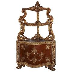 19th Century Italian, three-Tier Gilt Corner Cabinet with Enclosed Cupboard