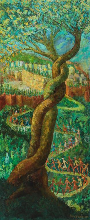 A large oil on wood panel painting by Polish artist Chaim Goldberg. A large and vibrant tree flourishes in the foreground with a stream of colorful people holding hands as they seemingly dance their way down a winding path leading to the Waling Wall