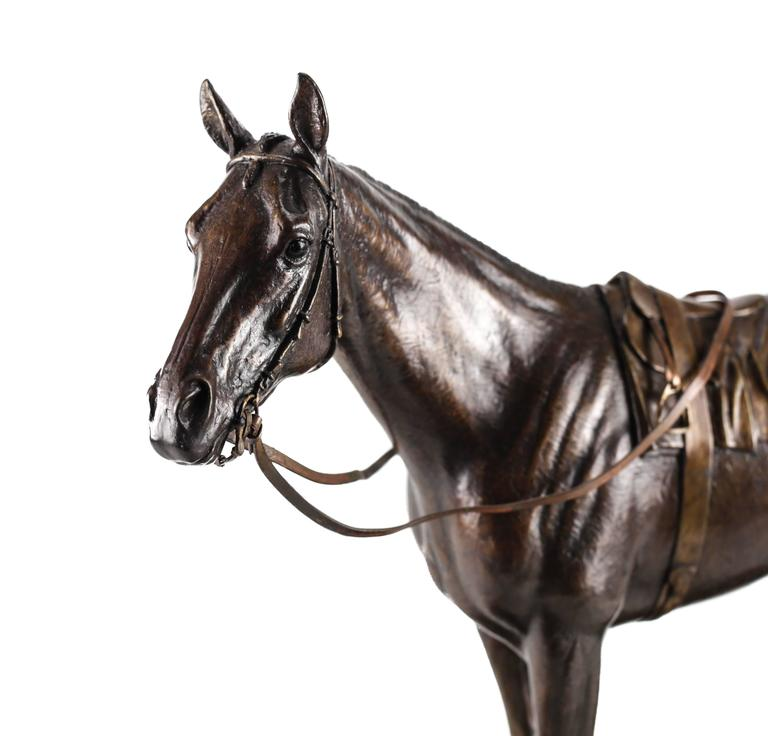 A Realistically Modeled Patinated Bronze Sculpture Of The 1980 Kentucky Derby Winning Thoroughbred Race Horse Genuine
