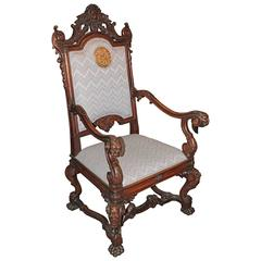 Spanish Hand-Carved Kings Chair with 24-karat Gold-Plated Bronze Emblem