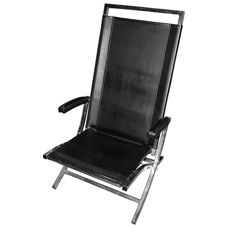 Modern Leather Exercise Chair With Chrome Frame At 1stdibs