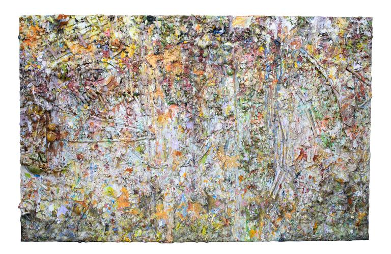 A massive abstract acrylic and mixed-media painting on canvas by Larry Poon (American, 1937-). Cut and applied foam, rolled and twisted cardstock, titled Retrieval. Signed and dated on the verso.  Currently oriented horizontally, with a width of