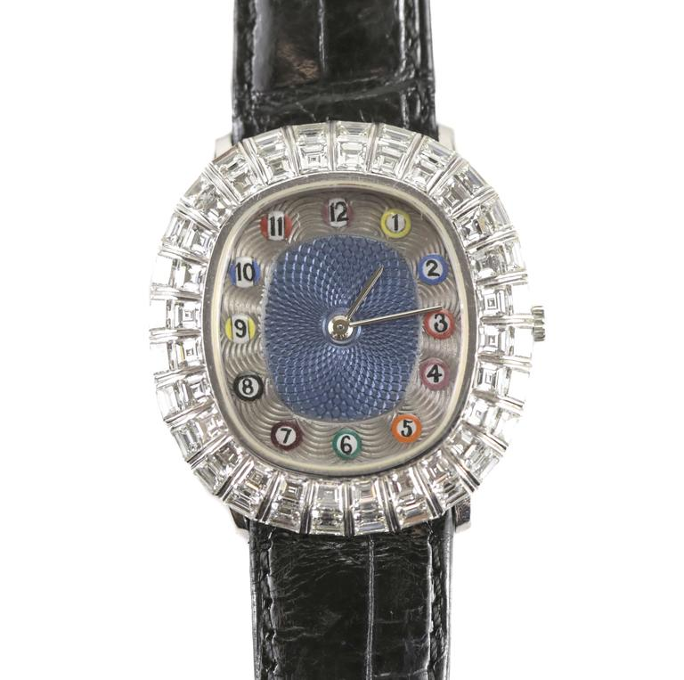 A fine limited edition 1/1 wristwatch by Audemars Piguet, D34442. A rare themed watch with the enamel numerals taking the form of POOL table or billiards balls. The bezel with blue engine turned enamel, engraved silvered chapter ring and Arabic