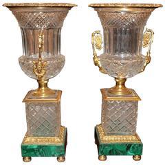 Neoclassical Style Cut Glass, Bronze and Malachite Urns