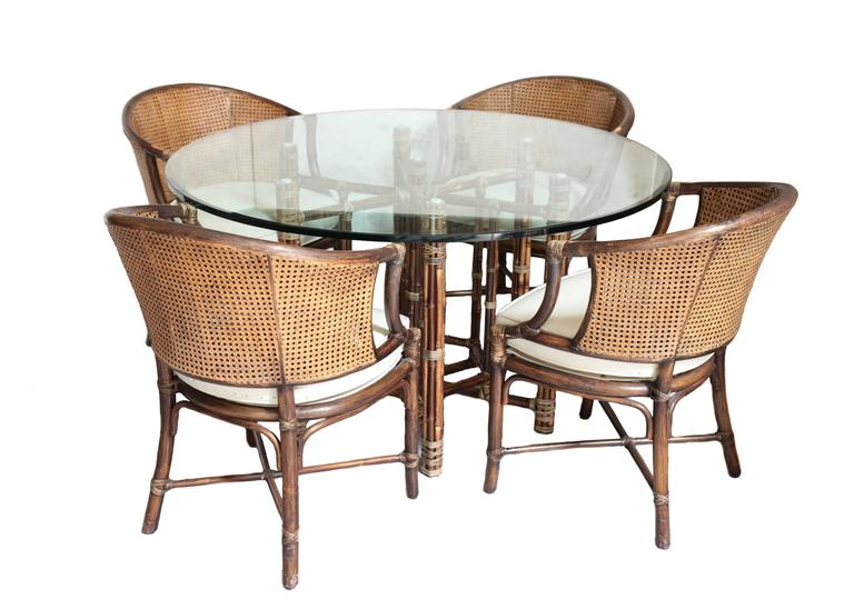 Attirant A Stunning Vintage Bamboo And Rattan Dinner And Chair Set By McGuire.  Comprised Of A