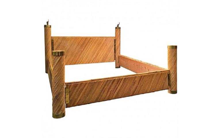 Marcello Mioni bamboo and brass modern king-size bed.