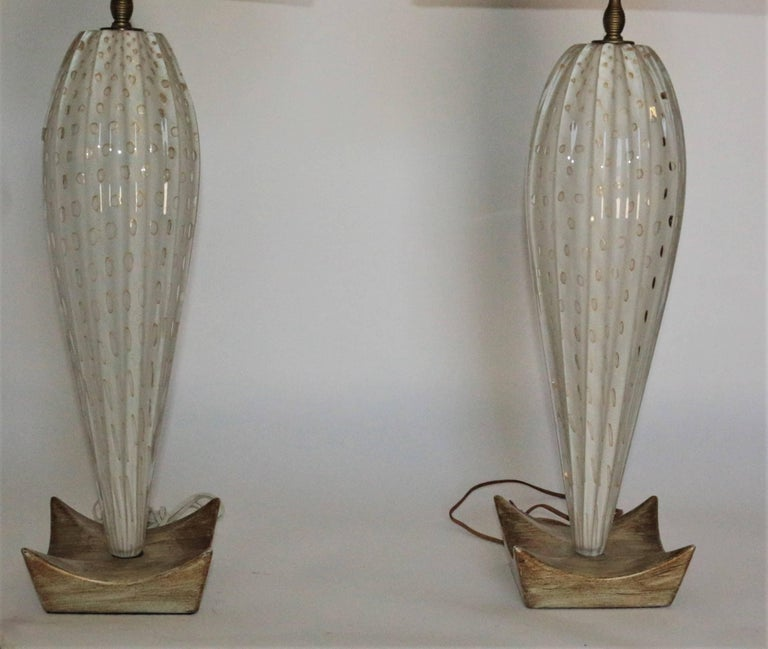 Pair of White Mid-Century Murano Lamps with a Unique Wooden Base and Gold Accent For Sale 2