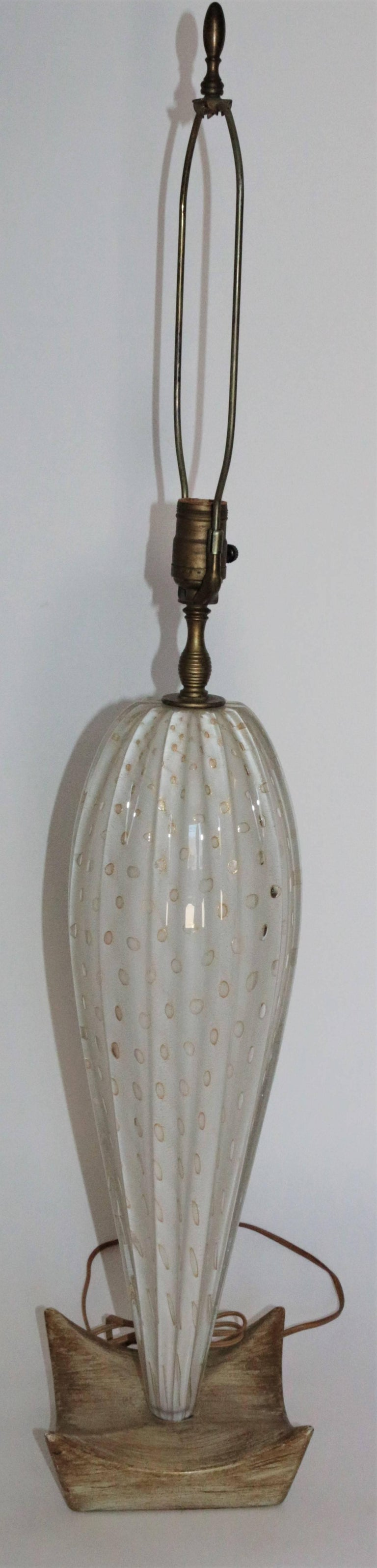 Pair of White Mid-Century Murano Lamps with a Unique Wooden Base and Gold Accent 5