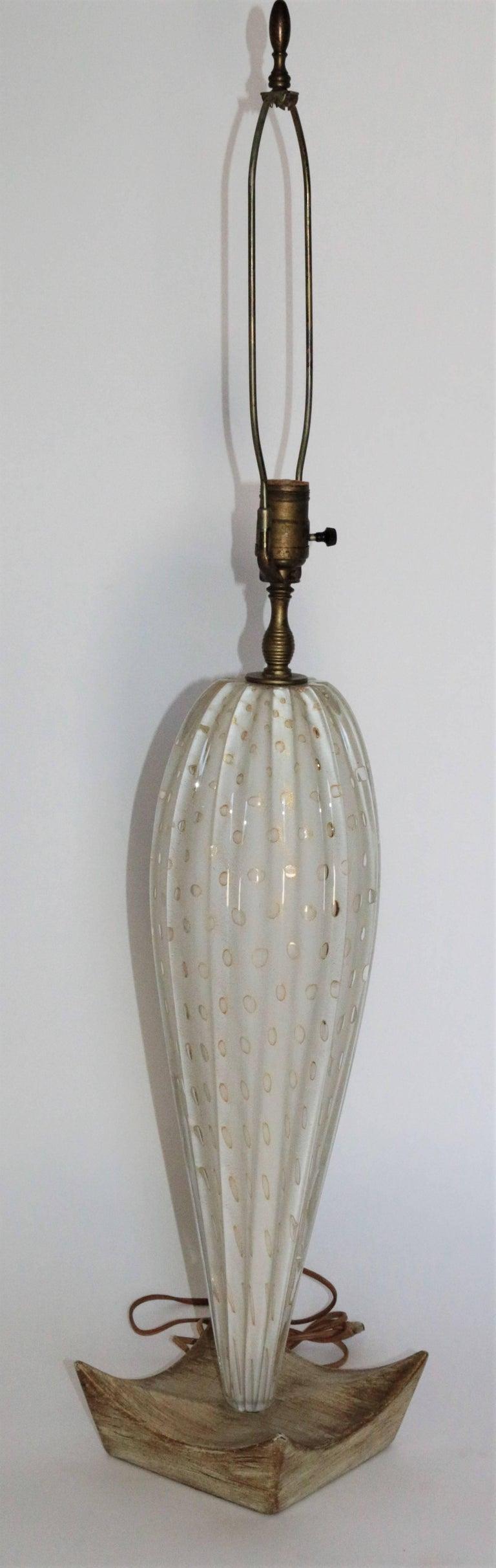 Pair of White Mid-Century Murano Lamps with a Unique Wooden Base and Gold Accent 4