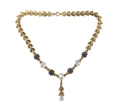 Retro 14-carat Gold Moonstone & Sapphire Choker Necklace by Tiffany & Co