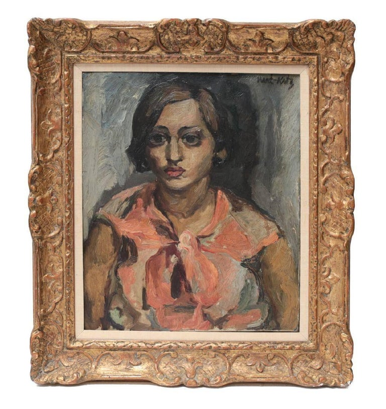 An oil on on canvas portrait painting of a woman by Ukraine/French artist, Emmanuel Mane-Katz titled