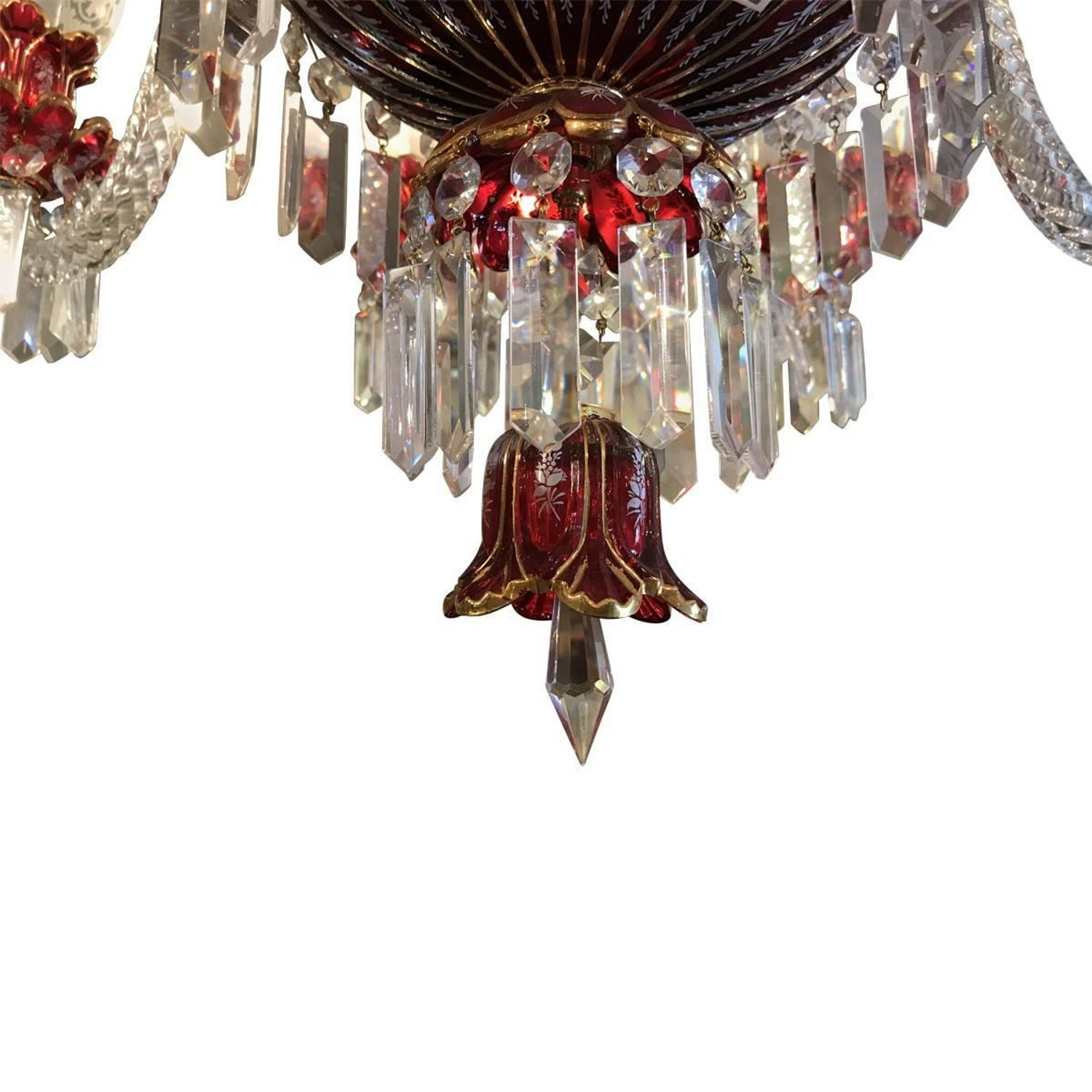 20th century baccarat style bohemian ruby glass crystal 24 karat 20th century baccarat style bohemian ruby glass crystal 24 karat gold chandelier at 1stdibs arubaitofo Image collections