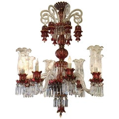 20th Century Baccarat Style Bohemian Ruby Glass Crystal 24 Karat Gold Chandelier