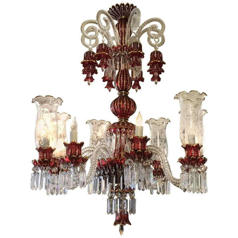 Antique Bohemian Hand Cut Crystal Blue Chandelier At 1stdibs