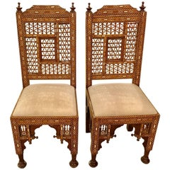 Moroccan / Syrian Moorish Inlaid Chairs, Pair