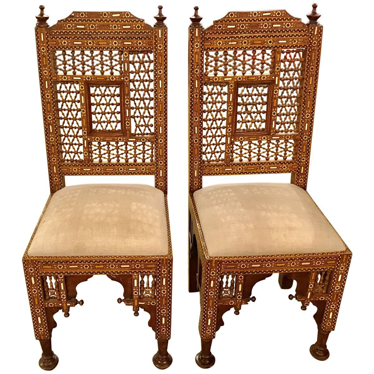 Moroccan / Syrian Moorish Inlaid Chairs, Pair For Sale