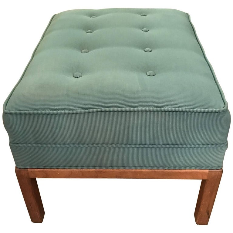 Teak Ottoman Coffee Table: Midcentury 1950s Tufted Teak Boucle Ottoman For Sale At