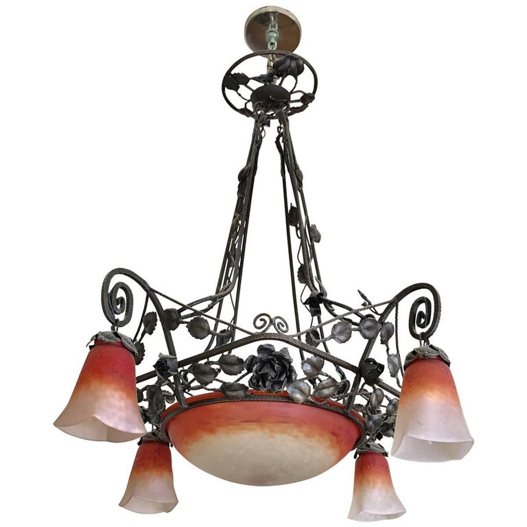 Muller Freres Art Deco Wrought Iron And Gl Chandelier