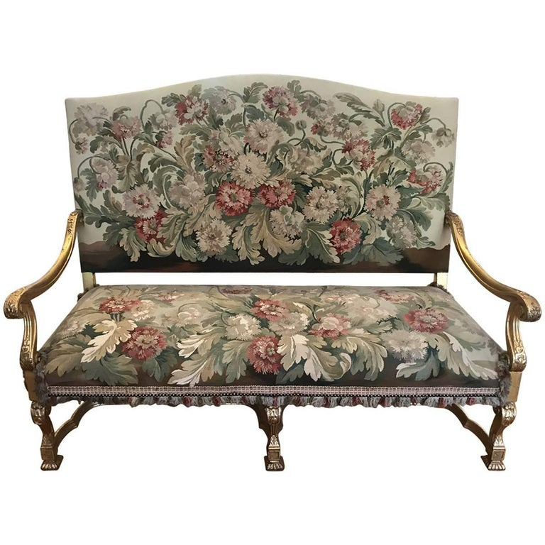 19th Century Aubesson Giltwood and Handmade Tapestry Settee